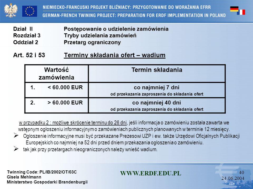 Twinning Code: PL/IB/2002/OT/03C Gisela Mehlmann Ministerstwo Gospodarki Brandenburgii WWW.ERDF.EDU.PL 39 24.06.2004 Dział IIPostępowanie o udzielenie