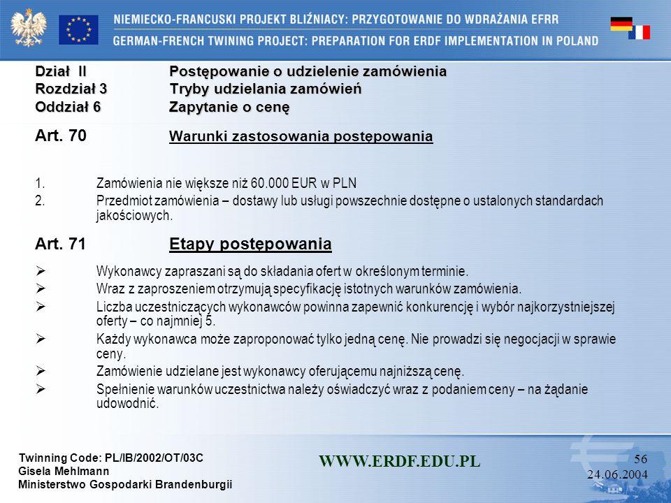 Twinning Code: PL/IB/2002/OT/03C Gisela Mehlmann Ministerstwo Gospodarki Brandenburgii WWW.ERDF.EDU.PL 55 24.06.2004 Dział IIPostępowanie o udzielenie