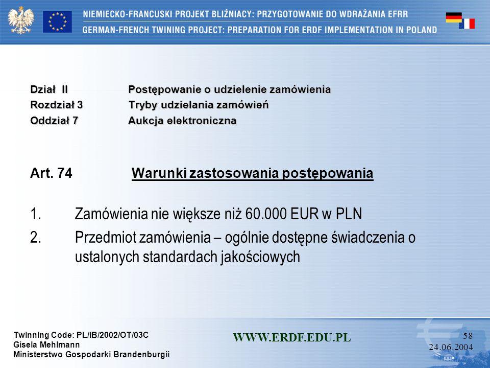 Twinning Code: PL/IB/2002/OT/03C Gisela Mehlmann Ministerstwo Gospodarki Brandenburgii WWW.ERDF.EDU.PL 57 24.06.2004 Dział IIPostępowanie o udzielenie