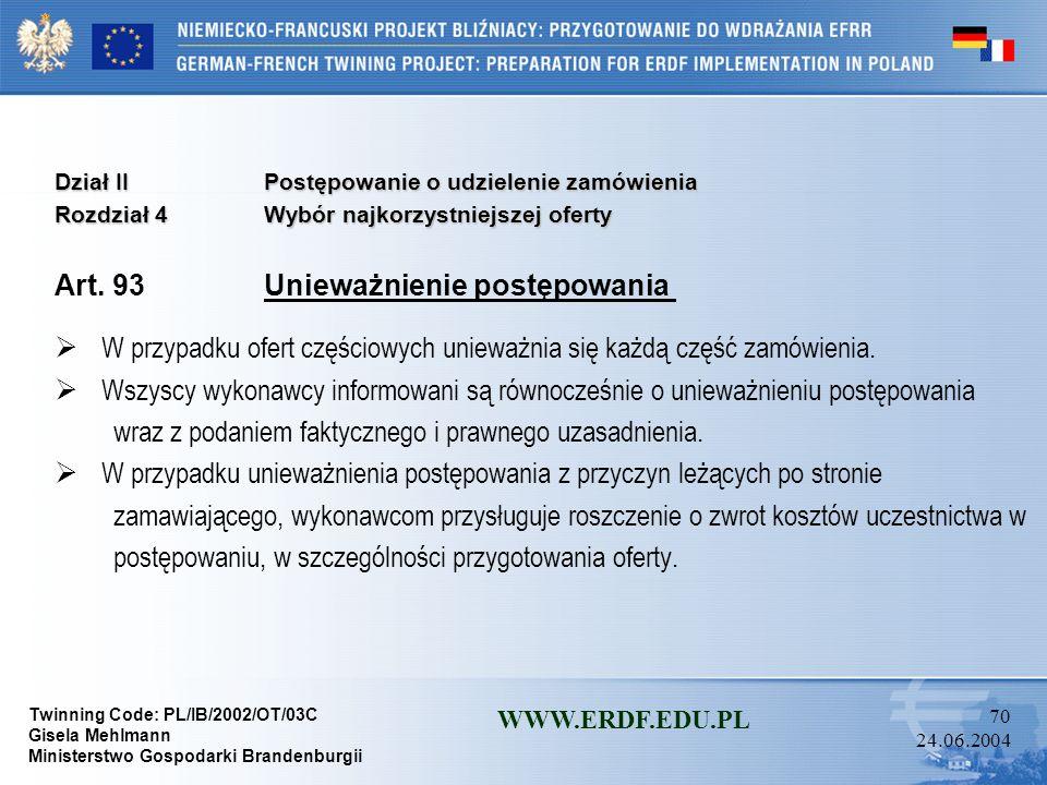 Twinning Code: PL/IB/2002/OT/03C Gisela Mehlmann Ministerstwo Gospodarki Brandenburgii WWW.ERDF.EDU.PL 69 24.06.2004 Dział IIPostępowanie o udzielenie