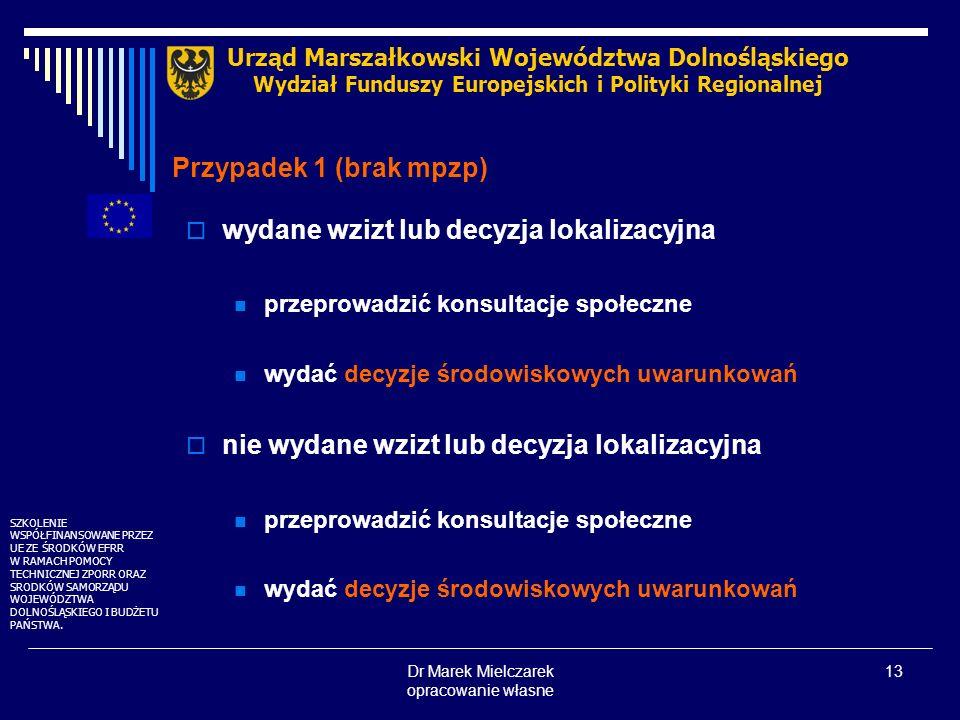 Dr Marek Mielczarek opracowanie własne 13 Przypadek 1 (brak mpzp) wydane wzizt lub decyzja lokalizacyjna przeprowadzić konsultacje społeczne wydać dec