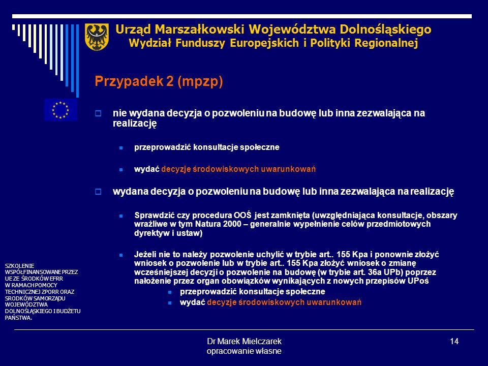 Dr Marek Mielczarek opracowanie własne 14 nie wydana decyzja o pozwoleniu na budowę lub inna zezwalająca na realizację przeprowadzić konsultacje społe