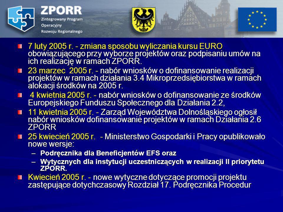 7 luty 2005 r. - zmiana sposobu wyliczania kursu EURO obowiązującego przy wyborze projektów oraz podpisaniu umów na ich realizację w ramach ZPORR. 23