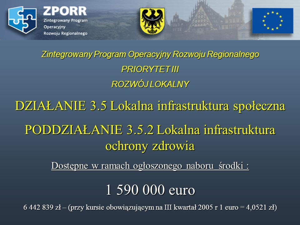 Zintegrowany Program Operacyjny Rozwoju Regionalnego PRIORYTET III ROZWÓJ LOKALNY DZIAŁANIE 3.5 Lokalna infrastruktura społeczna PODDZIAŁANIE 3.5.2 Lo
