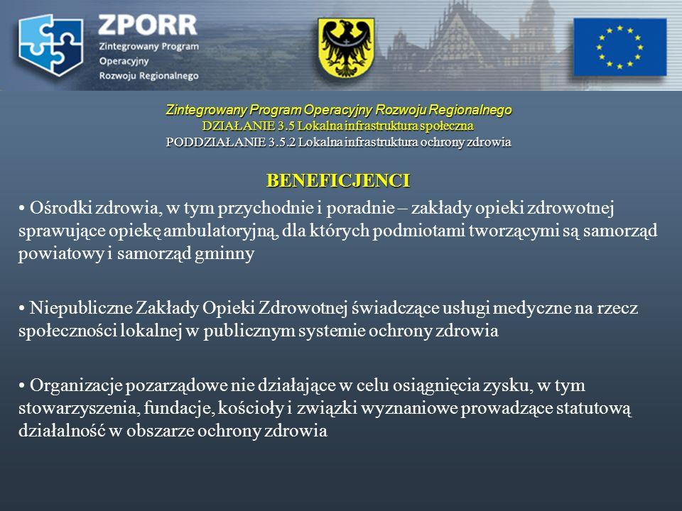 Zintegrowany Program Operacyjny Rozwoju Regionalnego DZIAŁANIE 3.5 Lokalna infrastruktura społeczna PODDZIAŁANIE 3.5.2 Lokalna infrastruktura ochrony