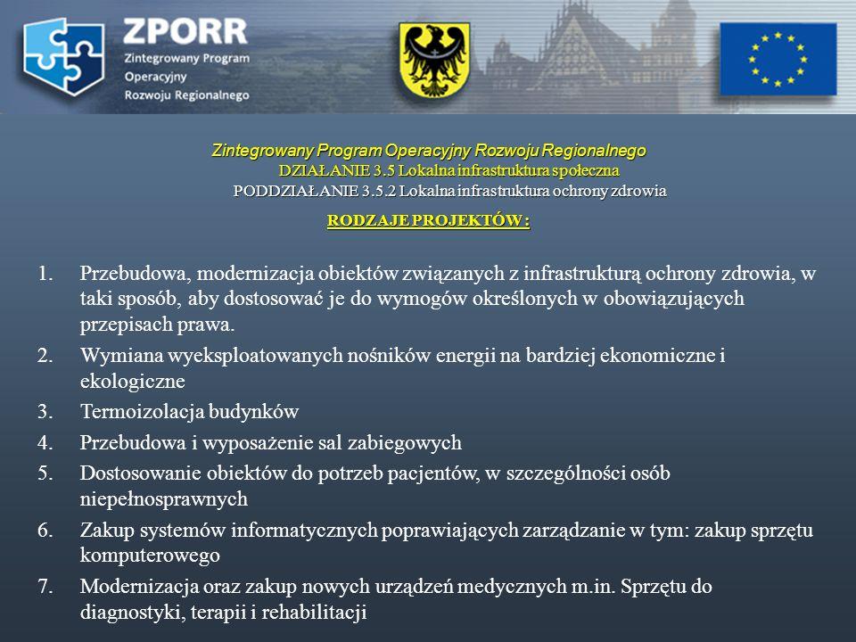 Zintegrowany Program Operacyjny Rozwoju Regionalnego DZIAŁANIE 3.5 Lokalna infrastruktura społeczna PODDZIAŁANIE 3.5.2 Lokalna infrastruktura ochrony zdrowia WYDATKI KWALIFIKOWALNE Prace przygotowawcze : Prace przygotowawcze : - przygotowanie projektu (przeprowadzenie prac studialnych,ekspertyz) - przygotowanie projektu (przeprowadzenie prac studialnych,ekspertyz) - przygotowanie dokumentacji technicznej: w tym przygotowanie studium wykonalności, raportu - przygotowanie dokumentacji technicznej: w tym przygotowanie studium wykonalności, raportu oddziaływania na środowisko, oddziaływania na środowisko, - prace projektantów, architektów, - prace projektantów, architektów, - przygotowanie dokumentacji przetargowej, - przygotowanie dokumentacji przetargowej,