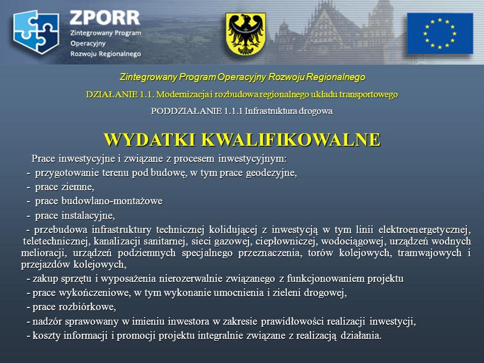 Zintegrowany Program Operacyjny Rozwoju Regionalnego PODDZIAŁANIE 1.1.2.