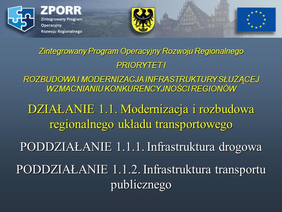 Zintegrowany Program Operacyjny Rozwoju Regionalnego PRIORYTET I ROZBUDOWA I MODERNIZACJA INFRASTRUKTURY SŁUŻĄCEJ WZMACNIANIU KONKURENCYJNOŚCI REGIONÓW DZIAŁANIE 1.1.