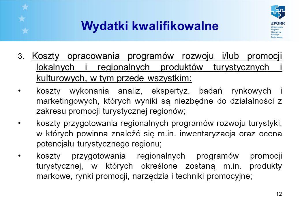 12 Wydatki kwalifikowalne 3. Koszty opracowania programów rozwoju i/lub promocji lokalnych i regionalnych produktów turystycznych i kulturowych, w tym