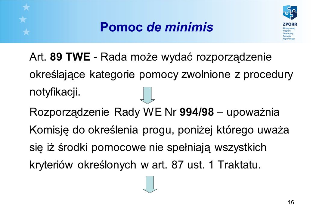 16 Pomoc de minimis Art. 89 TWE - Rada może wydać rozporządzenie określające kategorie pomocy zwolnione z procedury notyfikacji. Rozporządzenie Rady W