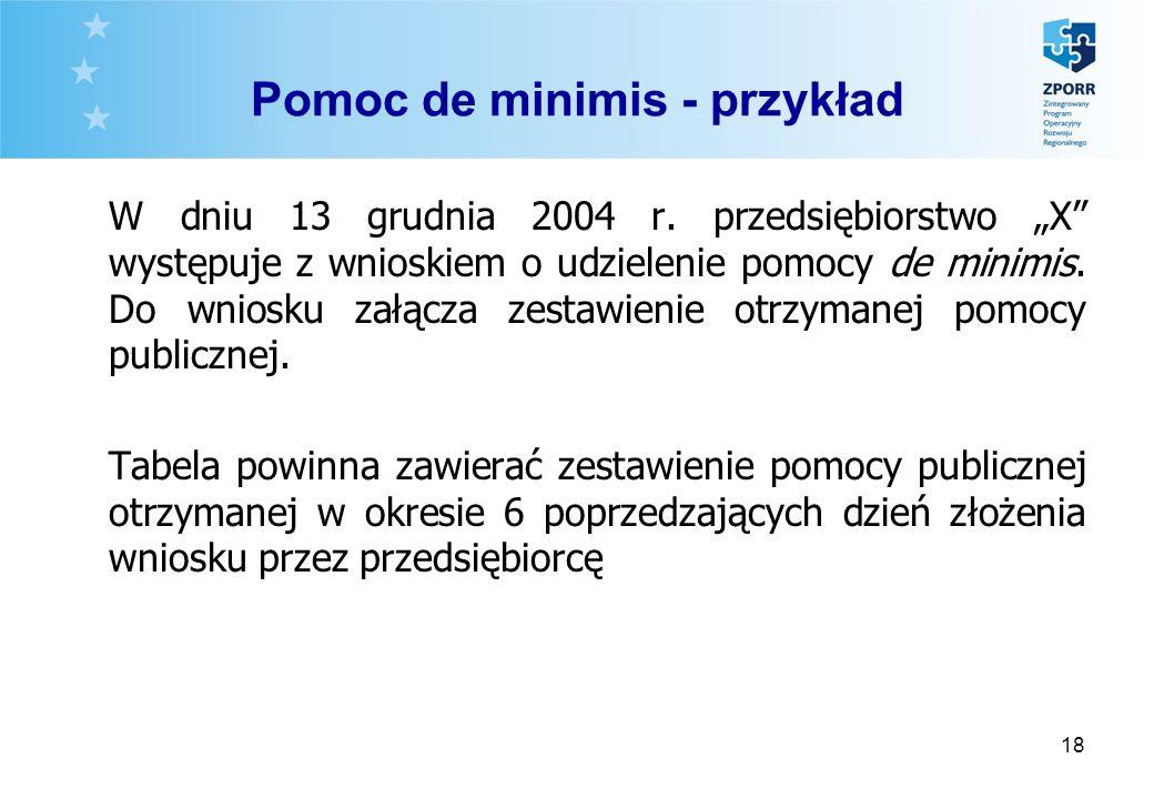 18 Pomoc de minimis - przykład W dniu 13 grudnia 2004 r. przedsiębiorstwo X występuje z wnioskiem o udzielenie pomocy de minimis. Do wniosku załącza z