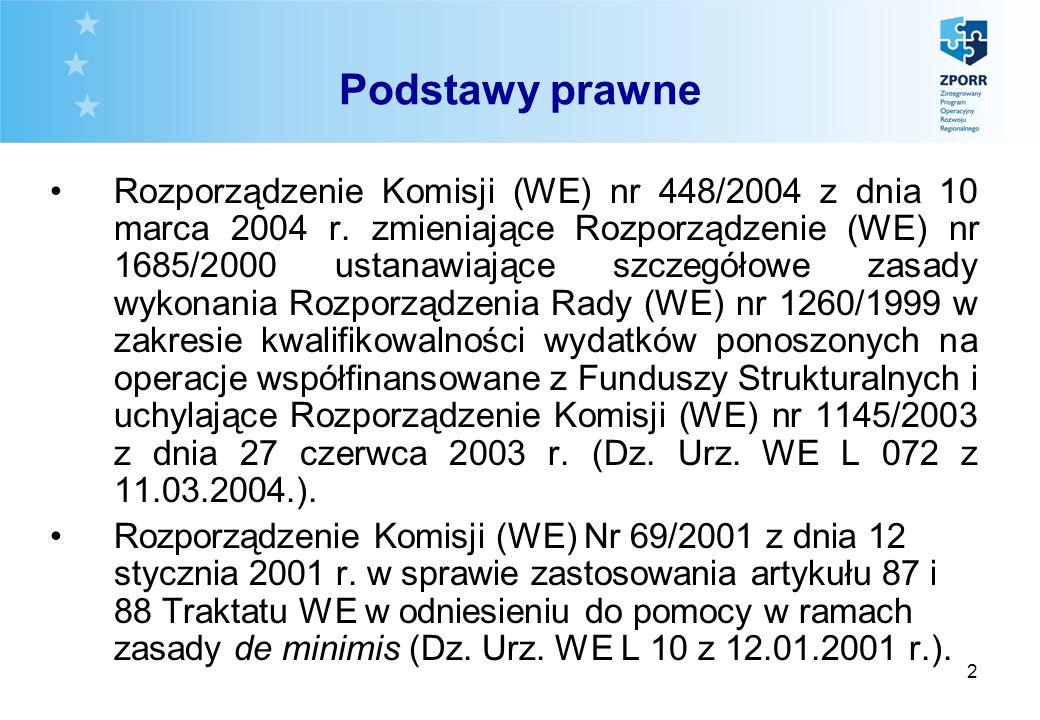 2 Podstawy prawne Rozporządzenie Komisji (WE) nr 448/2004 z dnia 10 marca 2004 r. zmieniające Rozporządzenie (WE) nr 1685/2000 ustanawiające szczegóło