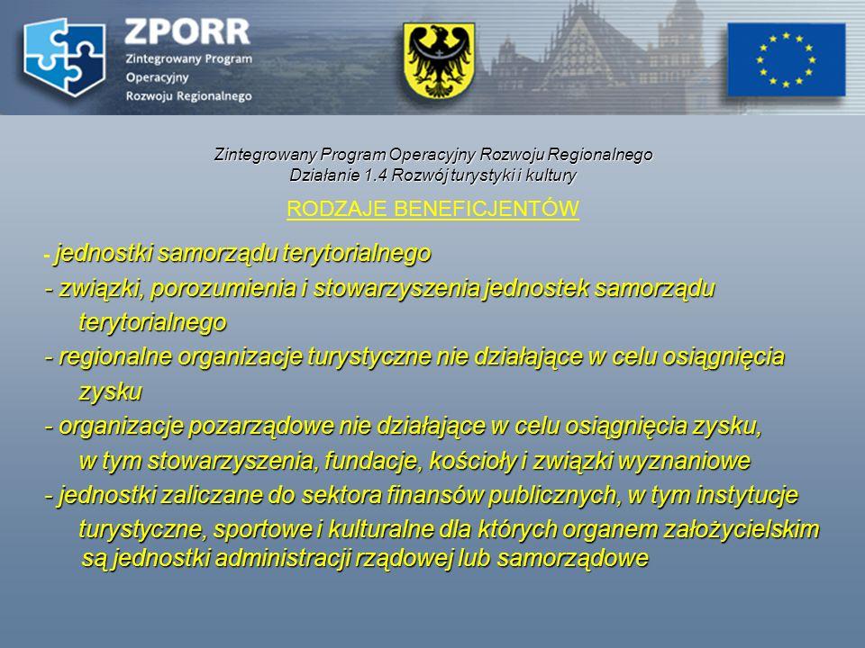 Zintegrowany Program Operacyjny Rozwoju Regionalnego Działanie 1.4 Rozwój turystyki i kultury RODZAJE BENEFICJENTÓW jednostki samorządu terytorialnego