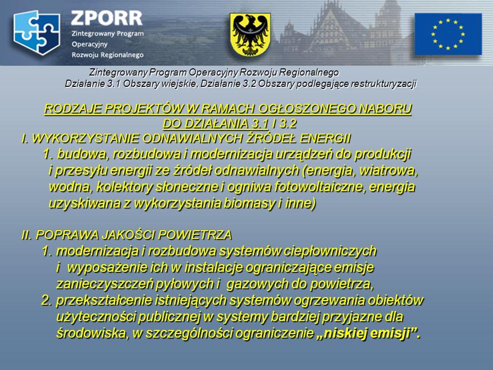 Zintegrowany Program Operacyjny Rozwoju Regionalnego Działanie 3.1 Obszary wiejskie, Działanie 3.2 Obszary podlegające restrukturyzacji RODZAJE PROJEK