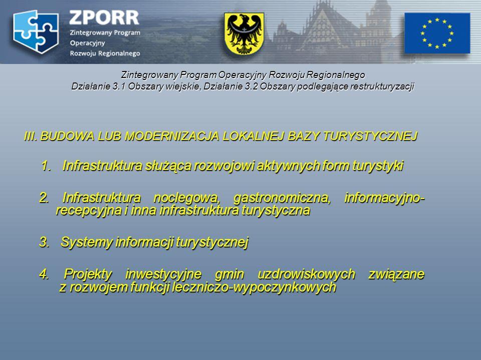 Zintegrowany Program Operacyjny Rozwoju Regionalnego Działanie 3.1 Obszary wiejskie, Działanie 3.2 Obszary podlegające restrukturyzacji III. BUDOWA LU