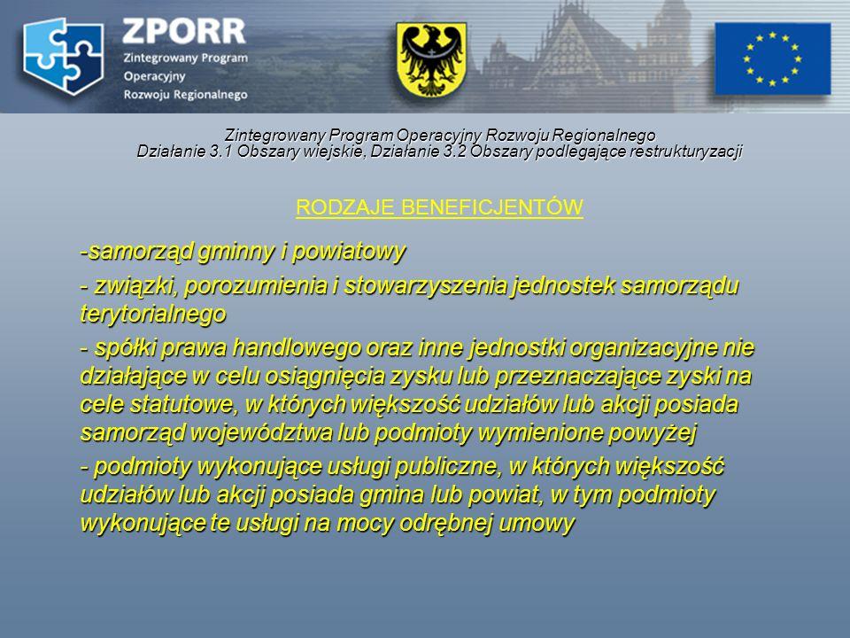 Zintegrowany Program Operacyjny Rozwoju Regionalnego Działanie 3.1 Obszary wiejskie, Działanie 3.2 Obszary podlegające restrukturyzacji RODZAJE BENEFI