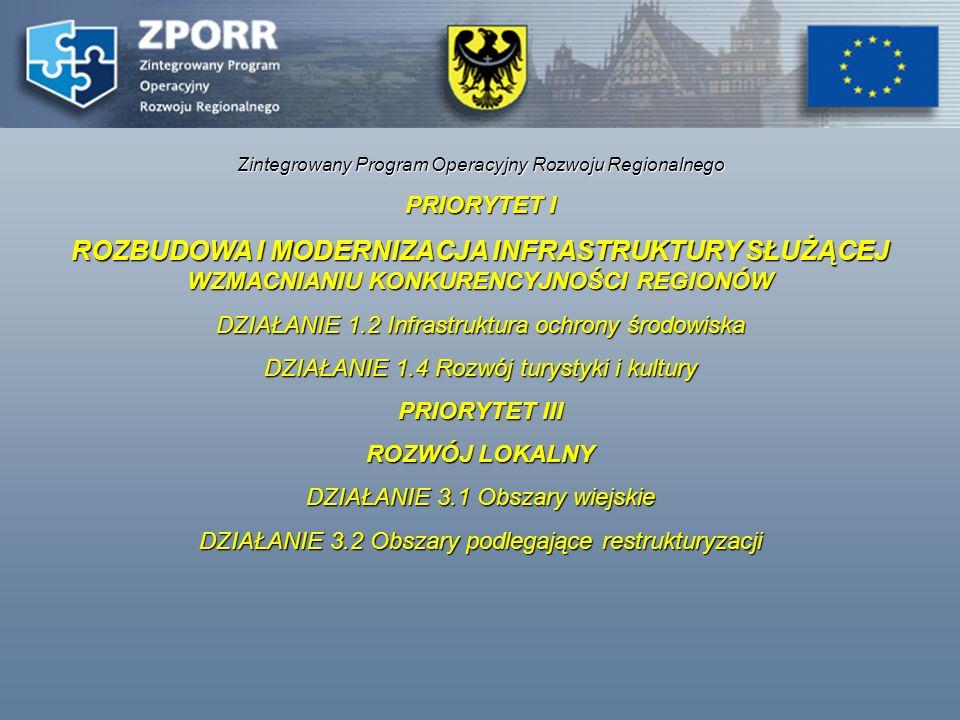 Zintegrowany Program Operacyjny Rozwoju Regionalnego Dostępna kwota dotacji na terenie województwa dolnośląskiego z EFRR: dla działania 1.2 ok.