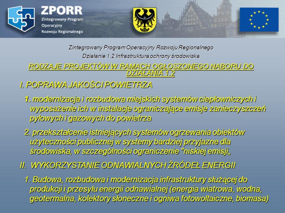 Zintegrowany Program Operacyjny Rozwoju Regionalnego Działanie 1.2 Infrastruktura ochrony środowiska RODZAJE PROJEKTÓW W RAMACH OGŁOSZONEGO NABORU DO