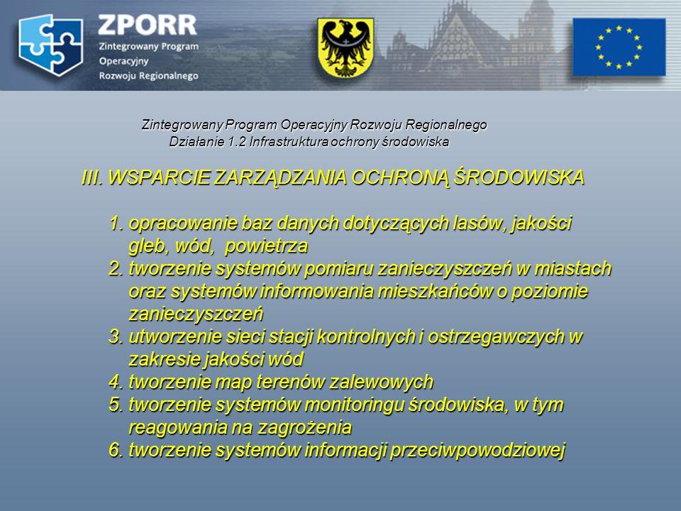 Zintegrowany Program Operacyjny Rozwoju Regionalnego Działanie 1.2 Infrastruktura ochrony środowiska III. WSPARCIE ZARZĄDZANIA OCHRONĄ ŚRODOWISKA 1. o