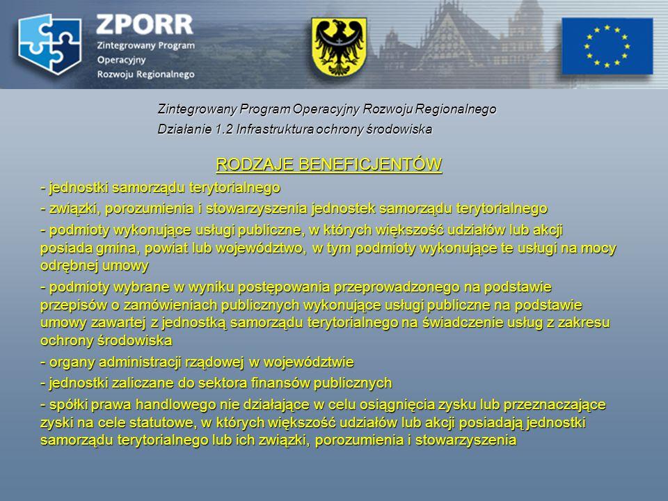 RODZAJE BENEFICJENTÓW - jednostki samorządu terytorialnego - związki, porozumienia i stowarzyszenia jednostek samorządu terytorialnego - podmioty wyko