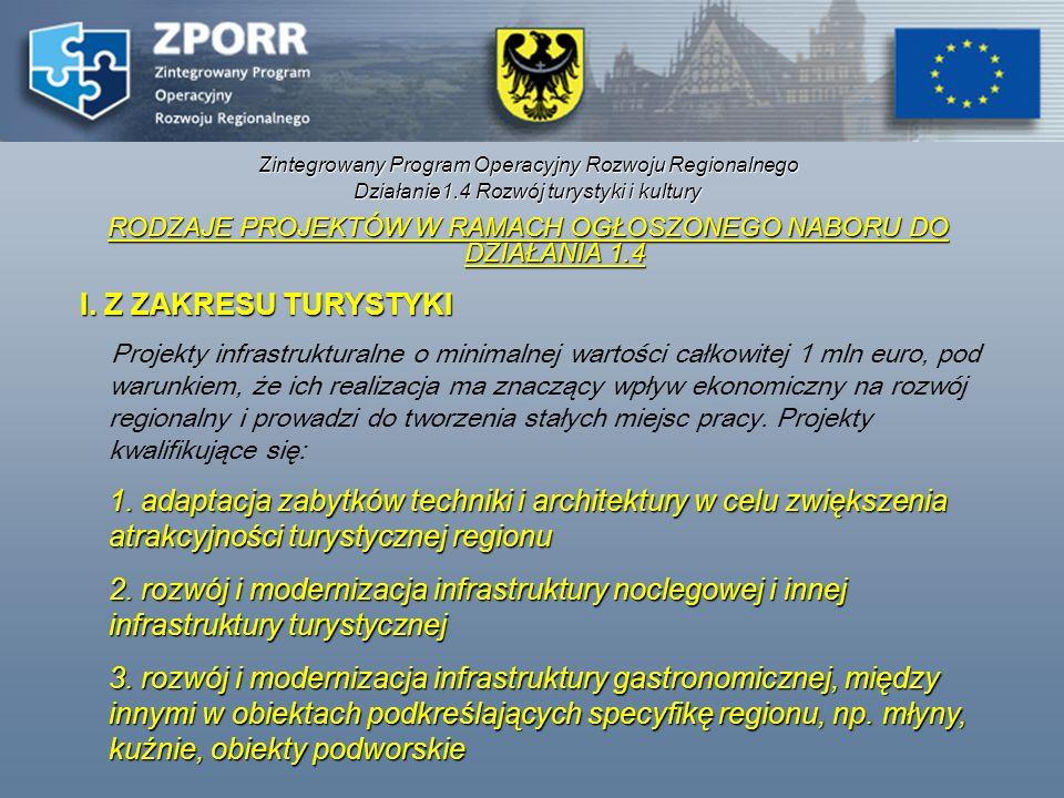 Zintegrowany Program Operacyjny Rozwoju Regionalnego Działanie1.4 Rozwój turystyki i kultury RODZAJE PROJEKTÓW W RAMACH OGŁOSZONEGO NABORU DO DZIAŁANI