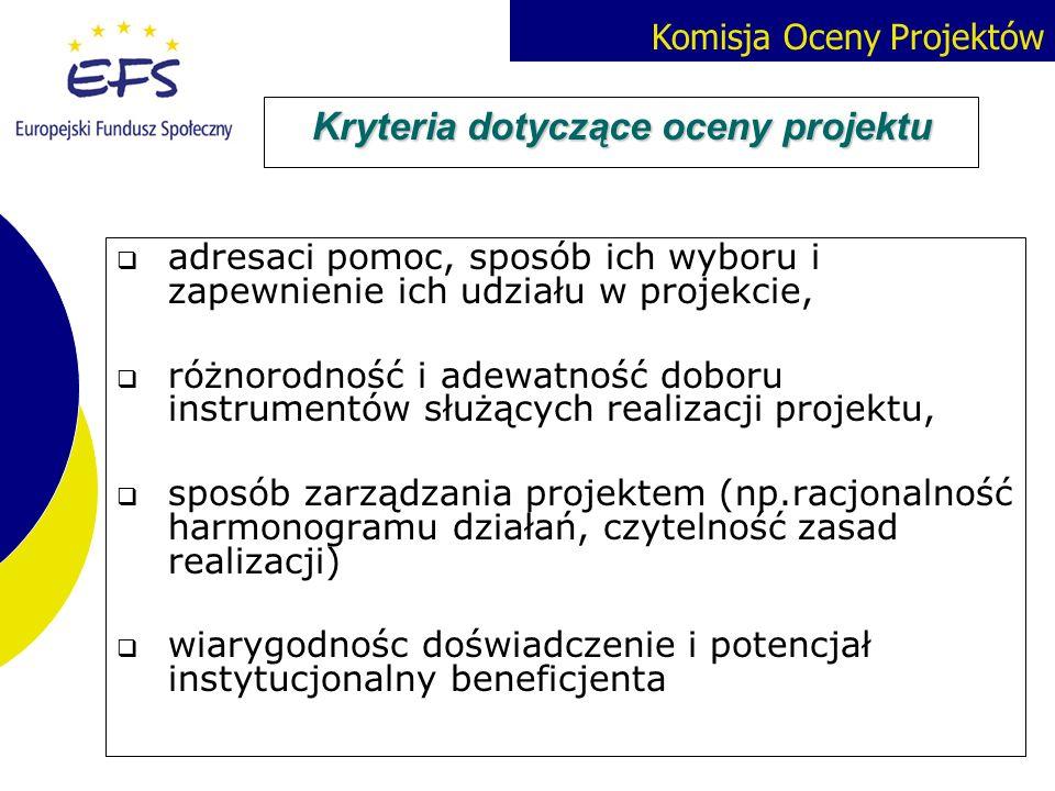 Komisja Oceny Projektów Kryteria dotyczące oceny projektu adresaci pomoc, sposób ich wyboru i zapewnienie ich udziału w projekcie, różnorodność i adew