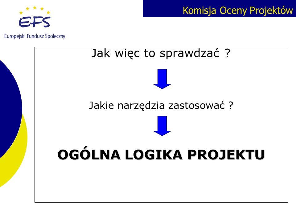 Komisja Oceny Projektów Jak więc to sprawdzać ? Jakie narzędzia zastosować ? OGÓLNA LOGIKA PROJEKTU