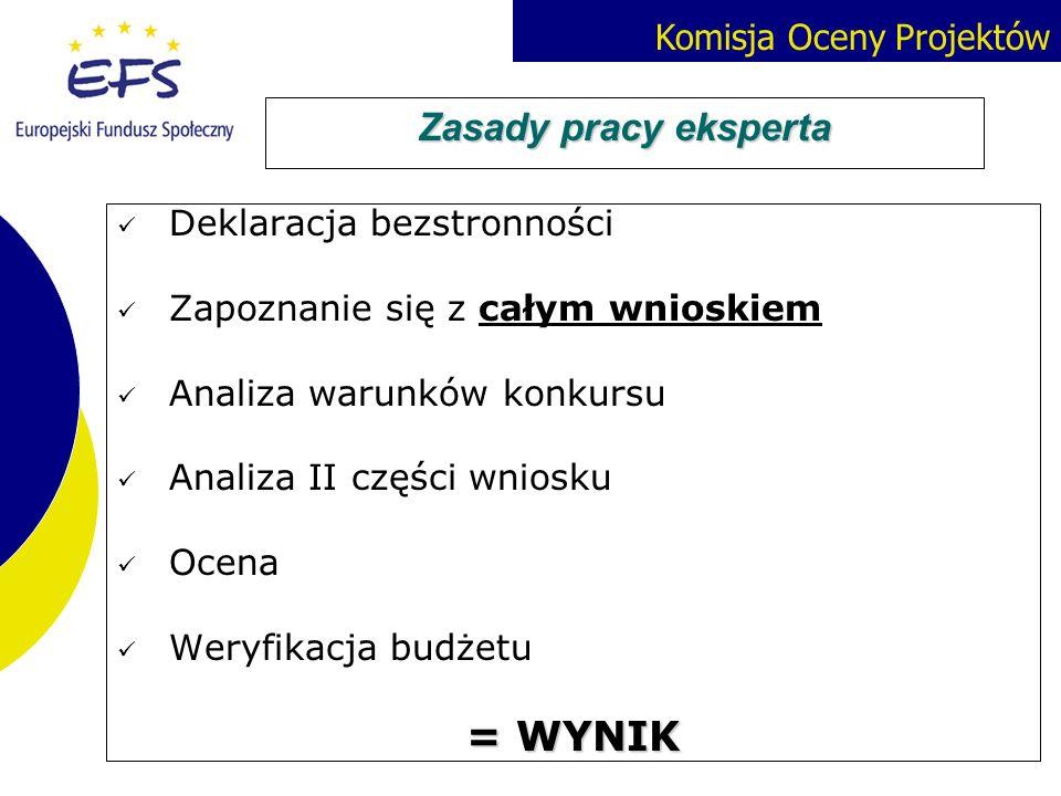Komisja Oceny Projektów Zasady pracy eksperta Deklaracja bezstronności Zapoznanie się z całym wnioskiem Analiza warunków konkursu Analiza II części wn