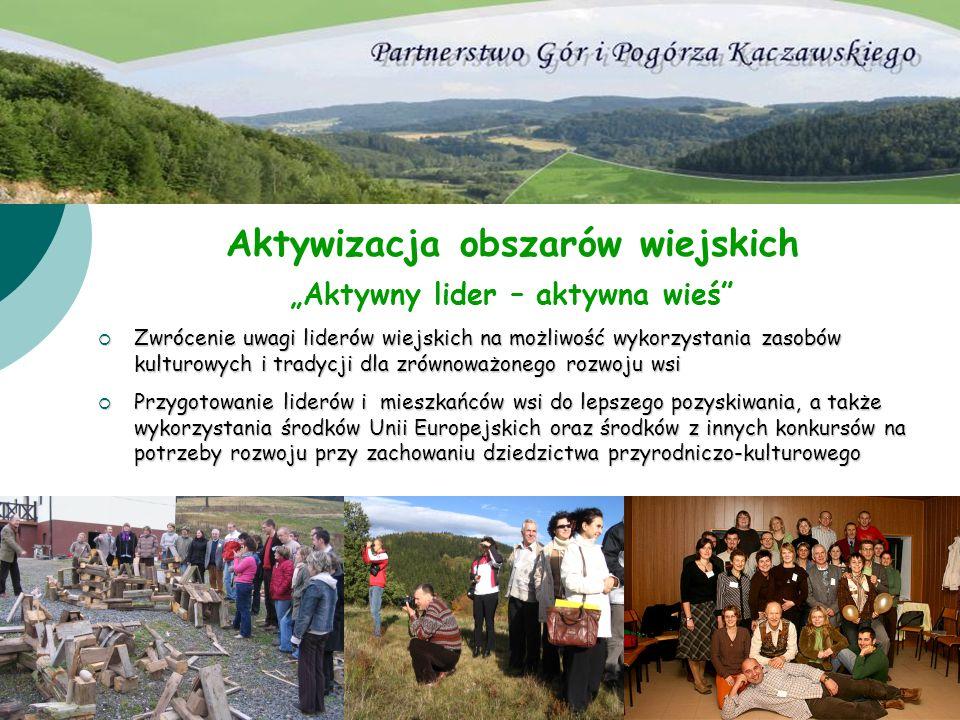 Aktywizacja obszarów wiejskich Aktywny lider – aktywna wieś Zwrócenie uwagi liderów wiejskich na możliwość wykorzystania zasobów kulturowych i tradycj
