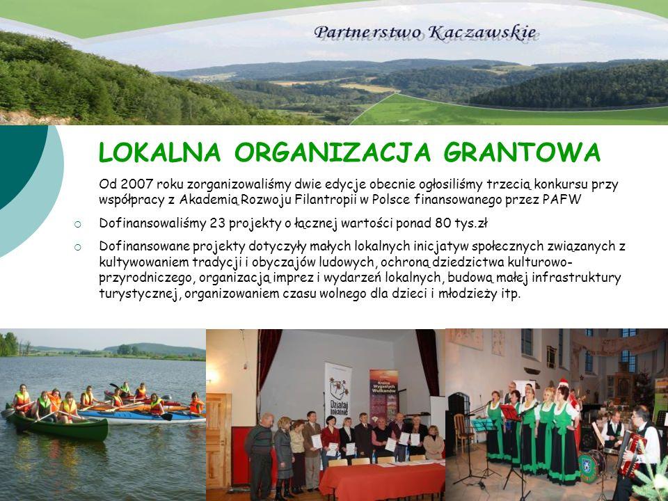 LOKALNA ORGANIZACJA GRANTOWA Od 2007 roku zorganizowaliśmy dwie edycje obecnie ogłosiliśmy trzecią konkursu przy współpracy z Akademią Rozwoju Filantr