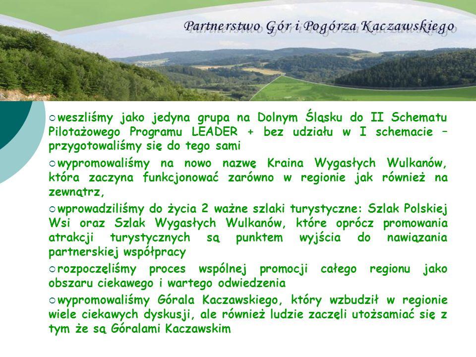weszliśmy jako jedyna grupa na Dolnym Śląsku do II Schematu Pilotażowego Programu LEADER + bez udziału w I schemacie – przygotowaliśmy się do tego sam