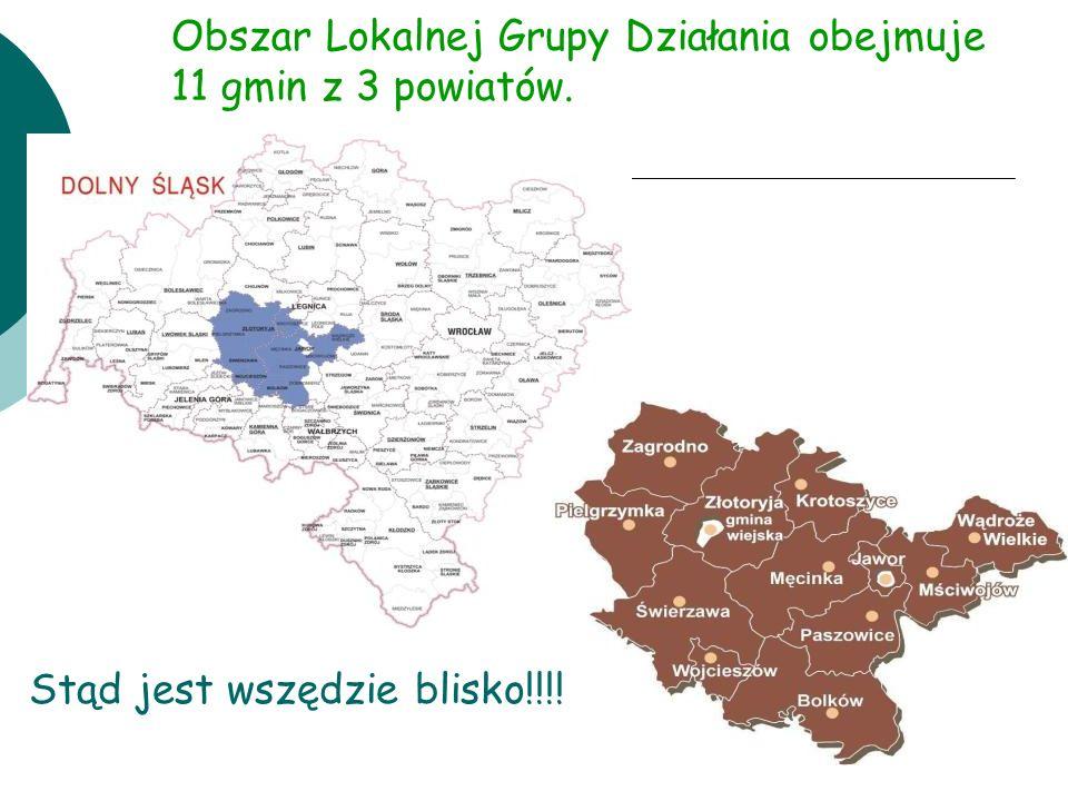 Obszar Lokalnej Grupy Działania obejmuje 11 gmin z 3 powiatów. Stąd jest wszędzie blisko!!!!