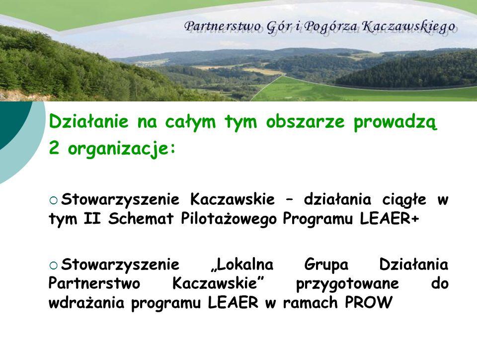Działanie na całym tym obszarze prowadzą 2 organizacje: Stowarzyszenie Kaczawskie – działania ciągłe w tym II Schemat Pilotażowego Programu LEAER+ Sto