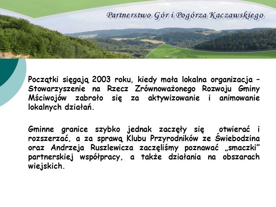Początki sięgają 2003 roku, kiedy mała lokalna organizacja – Stowarzyszenie na Rzecz Zrównoważonego Rozwoju Gminy Mściwojów zabrało się za aktywizowan
