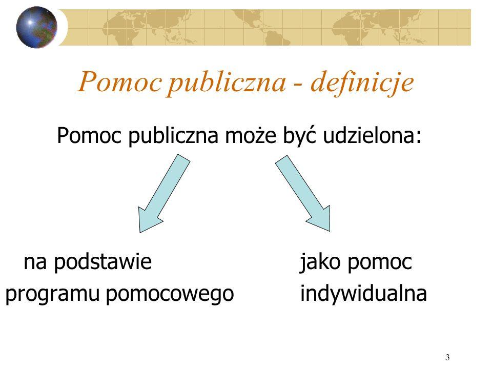 3 Pomoc publiczna - definicje Pomoc publiczna może być udzielona: na podstawiejako pomoc programu pomocowegoindywidualna