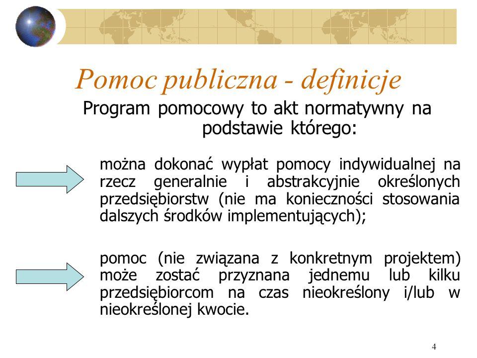 4 Pomoc publiczna - definicje Program pomocowy to akt normatywny na podstawie którego: można dokonać wypłat pomocy indywidualnej na rzecz generalnie i