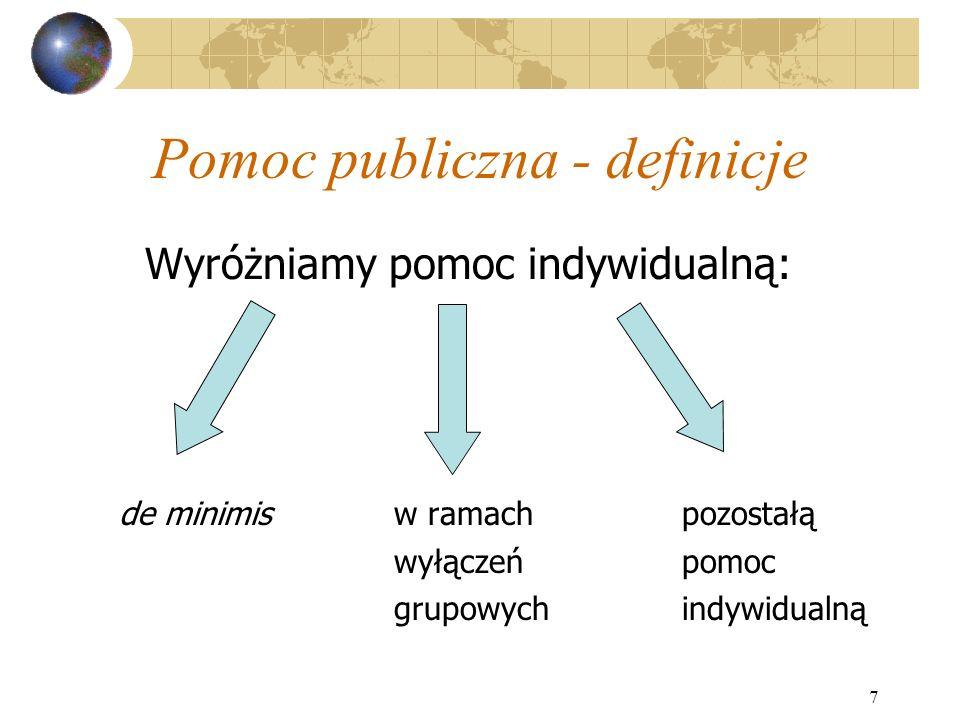 7 Pomoc publiczna - definicje Wyróżniamy pomoc indywidualną: de minimis w ramachpozostałą wyłączeńpomoc grupowychindywidualną