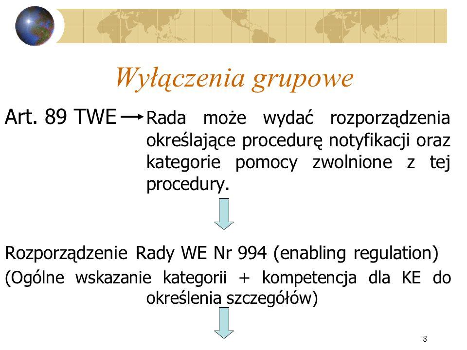 8 Wyłączenia grupowe Art. 89 TWE Rada może wydać rozporządzenia określające procedurę notyfikacji oraz kategorie pomocy zwolnione z tej procedury. Roz
