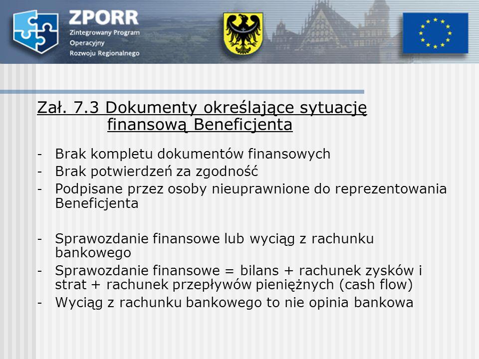 Zał. 7.3 Dokumenty określające sytuację finansową Beneficjenta - Brak kompletu dokumentów finansowych - Brak potwierdzeń za zgodność - Podpisane przez