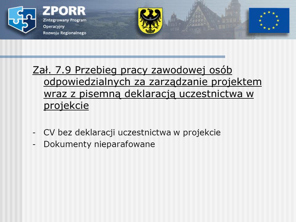 Zał. 7.9 Przebieg pracy zawodowej osób odpowiedzialnych za zarządzanie projektem wraz z pisemną deklaracją uczestnictwa w projekcie - CV bez deklaracj