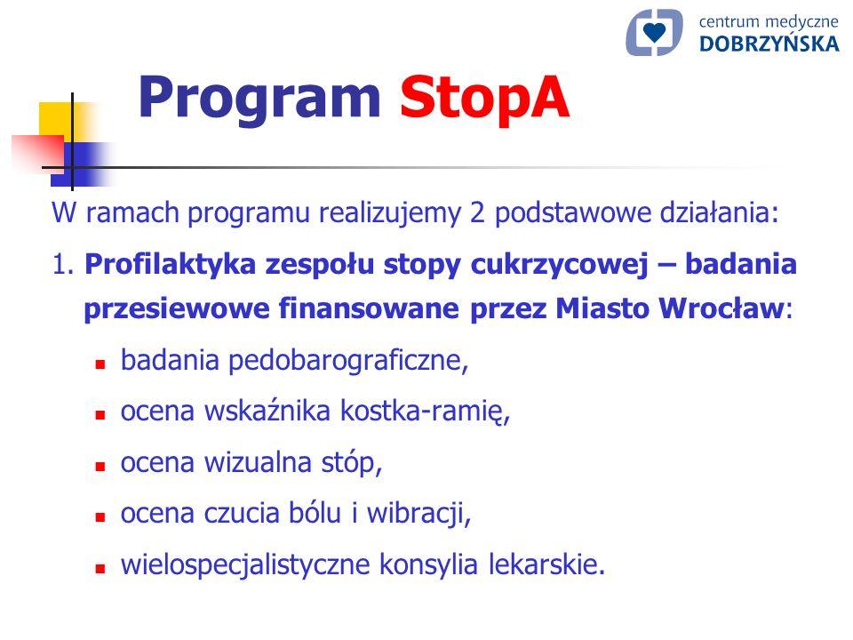 Program StopA W ramach programu realizujemy 2 podstawowe działania: 1. Profilaktyka zespołu stopy cukrzycowej – badania przesiewowe finansowane przez