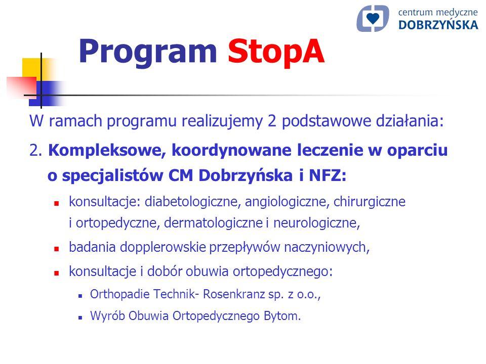 Program StopA W ramach programu realizujemy 2 podstawowe działania: 2. Kompleksowe, koordynowane leczenie w oparciu o specjalistów CM Dobrzyńska i NFZ