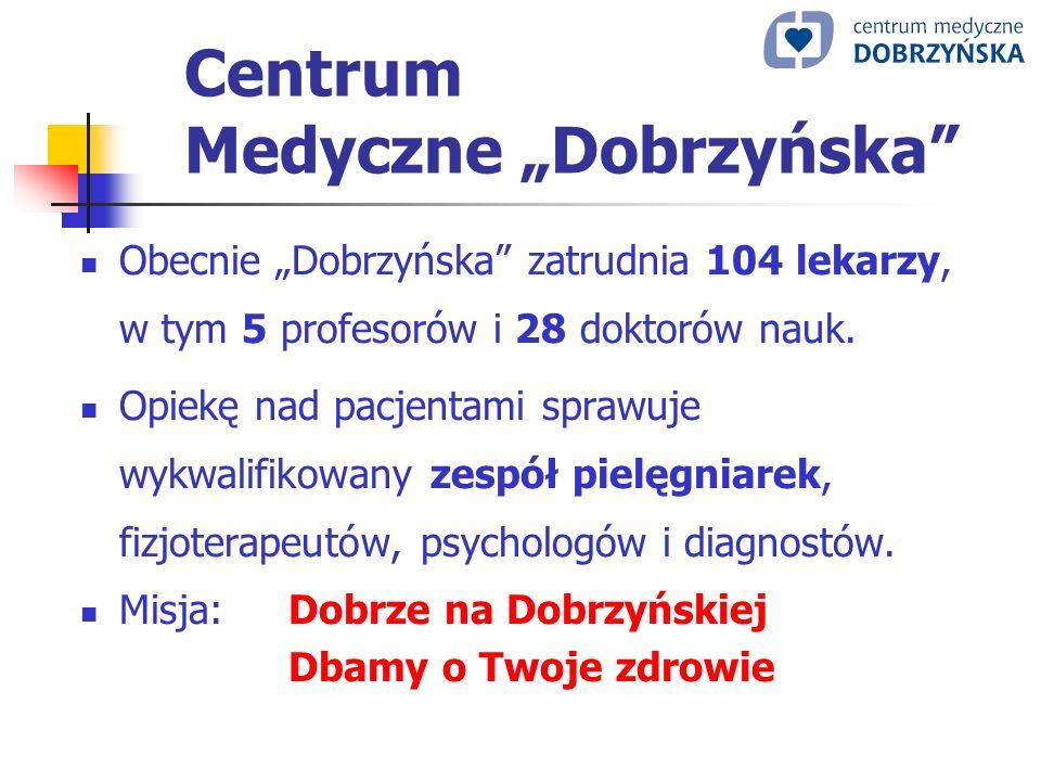 Centrum Medyczne Dobrzyńska Obecnie Dobrzyńska zatrudnia 104 lekarzy, w tym 5 profesorów i 28 doktorów nauk. Opiekę nad pacjentami sprawuje wykwalifik
