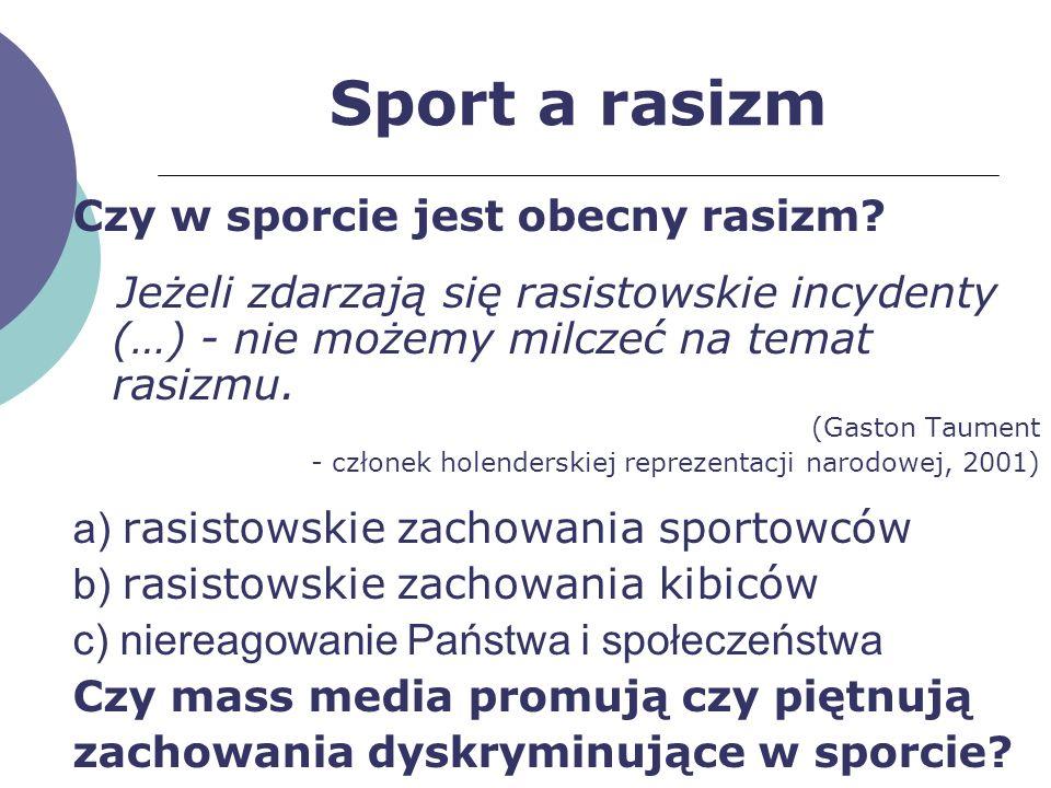 Sport a rasizm Czy w sporcie jest obecny rasizm? Jeżeli zdarzają się rasistowskie incydenty (…) - nie możemy milczeć na temat rasizmu. (Gaston Taument