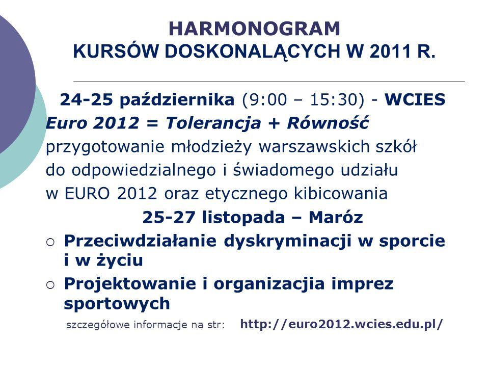 HARMONOGRAM KURSÓW DOSKONALĄCYCH W 2011 R. 24-25 października (9:00 – 15:30) - WCIES Euro 2012 = Tolerancja + Równość przygotowanie młodzieży warszaws