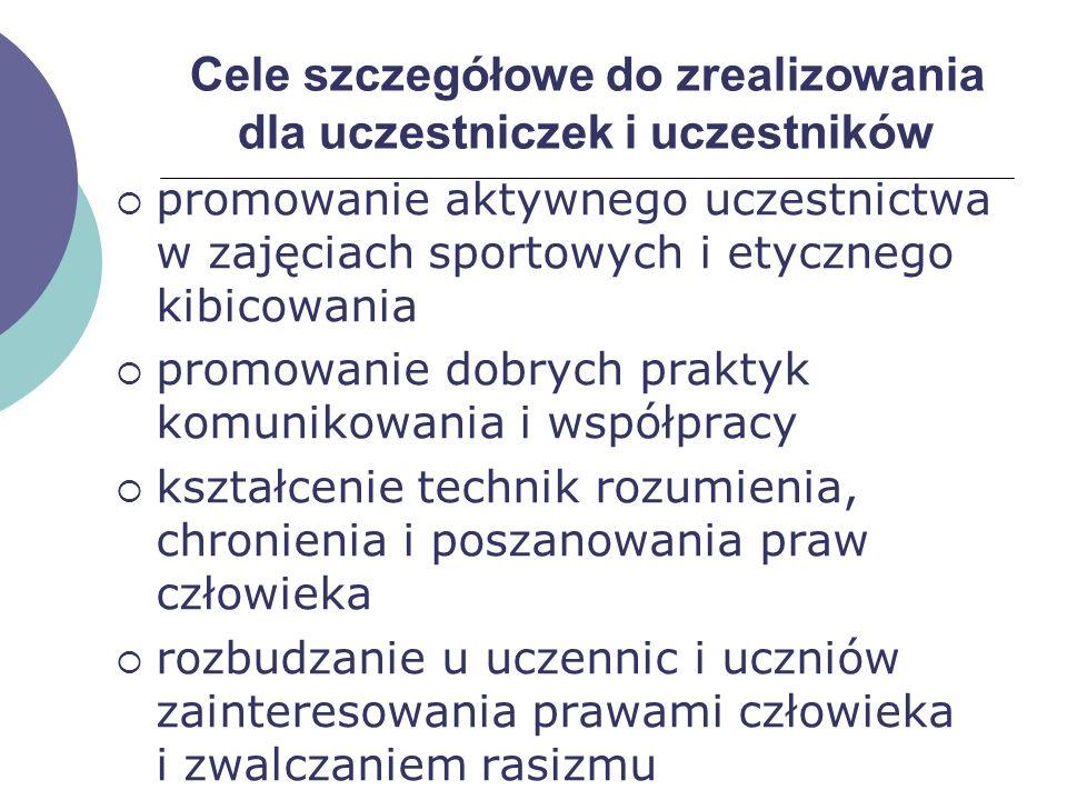 Cele szczegółowe do zrealizowania dla uczestniczek i uczestników promowanie aktywnego uczestnictwa w zajęciach sportowych i etycznego kibicowania prom