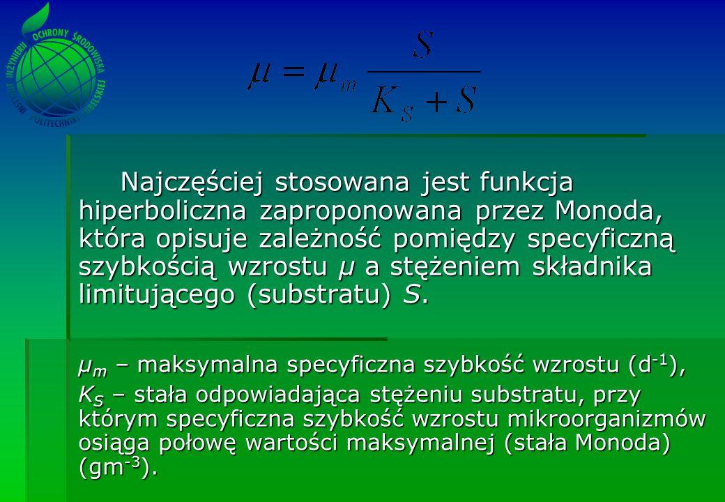 Najczęściej stosowana jest funkcja hiperboliczna zaproponowana przez Monoda, która opisuje zależność pomiędzy specyficzną szybkością wzrostu µ a stężeniem składnika limitującego (substratu) S.