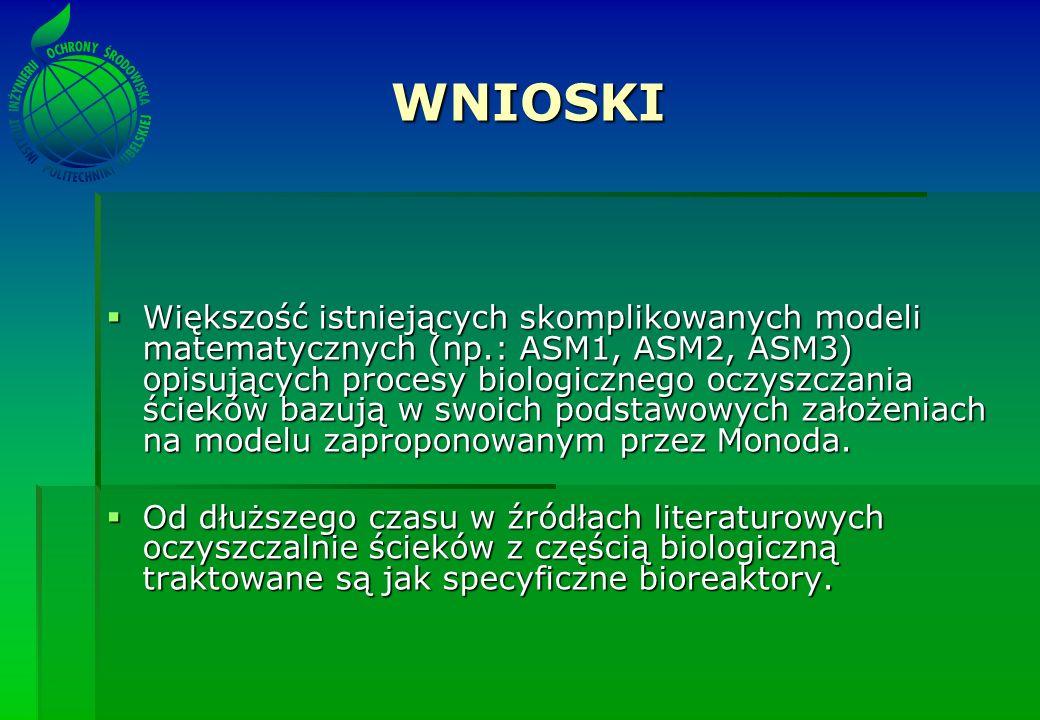WNIOSKI Większość istniejących skomplikowanych modeli matematycznych (np.: ASM1, ASM2, ASM3) opisujących procesy biologicznego oczyszczania ścieków ba