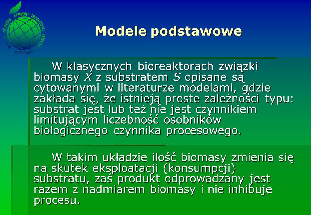 W klasycznych bioreaktorach związki biomasy X z substratem S opisane są cytowanymi w literaturze modelami, gdzie zakłada się, że istnieją proste zależ