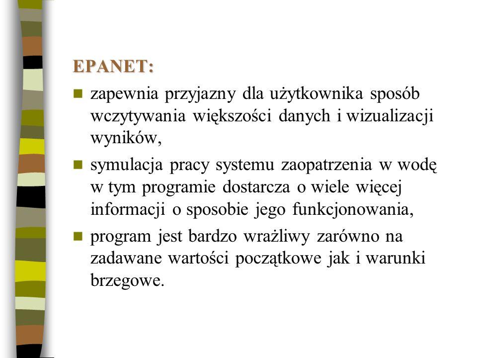 EPANET: zapewnia przyjazny dla użytkownika sposób wczytywania większości danych i wizualizacji wyników, symulacja pracy systemu zaopatrzenia w wodę w
